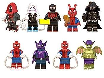 GINKO 9pcs Miles Morales Spider Ham Prowler Peter Parker Green Goblin Super Hero Mini Action Figure Set Super Hero Fit Toys