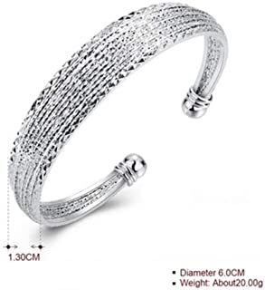 ARB Market 6.25 Inch 925 Sterling Silver Diamond-Cut Cuff Ball End Open Bangle Bracelet Perfect Gift - Ideal Gift For Any Occasion, Memorial, Celebration, Anniversary And Birthday (Silver)
