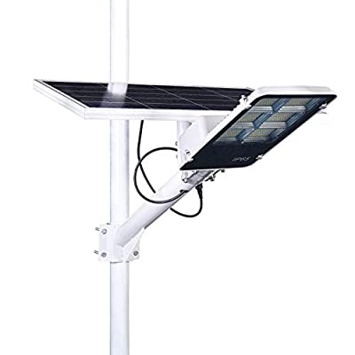 CYBERDAX Solar Street Light, White/Yellow Dual Light Mode, 300W/50W with Light and Remote Control, Dusk to Dawn Security Outdoor Led Flood Lamp for Alley, Footpath, Garage, Garden, Street
