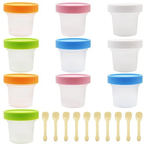 Cuenco de Helado,Yueser 10 Piezas Reutilizable Cuenco de Helado de Plástico con Etiqueta Engomada del Helado y Cucharas para Fiesta Postre de Gelatina Yogur de Pastel
