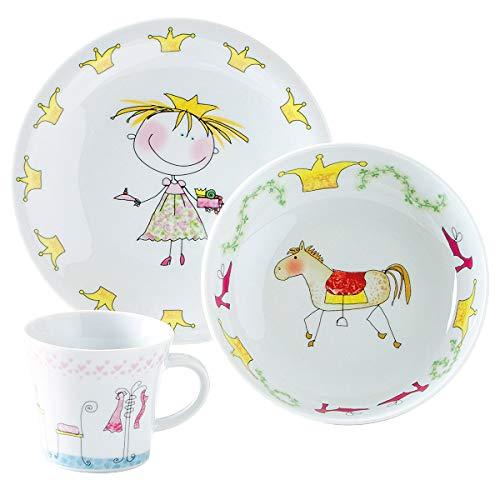 Kahla 32D200A76645C Kids Märchenprinzessin Magic Grip Kindergeschirr Geschirr Set für Mädchen bunt rund 3 teilig Set Tasse Suppenteller Teller