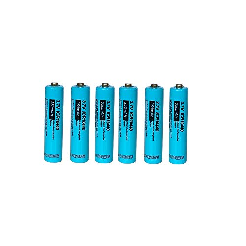 ICR10440 Rechargeable Li-ion Battery 3.7V 350mAh AAA Lithium Battery (6pc Button top)