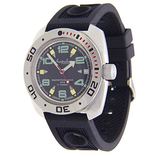 Vostok Amphibian Automatik Herren-Armbanduhr Schwarz #710334
