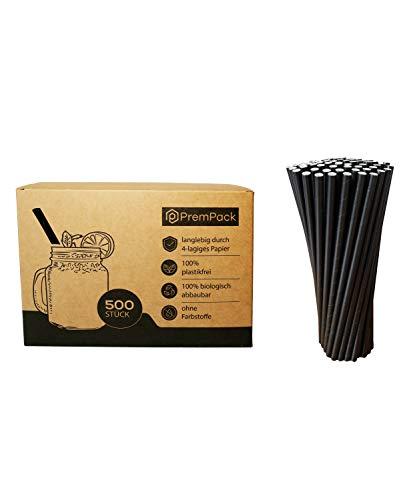 PremPack 500x Papierstrohhalme – Premium biologisch abbaubare extra breite Cocktail Trinkhalme– hochwertig und robust durch 4-lagiges Papier – Geeignet für alle Anlässe (Schwarz, Cocktail)