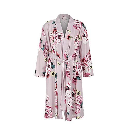 Damen Umstands Schwangerschafts Kimono Robe Blume Bademantel Stillnachthemd Nachtwäsche Still-Nachthemd für Schwangere mit Gürte (Rosa, L)