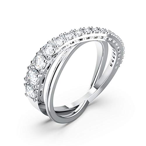 Swarovski Women's Twist Rows Ring, White Crystal Stones in a Spiral Design, Rhodium Plated Setting, Size 50