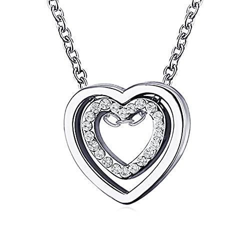 Corazón de Piedra en el Collar Colgante del corazón para Mujer (Metal Color : 43569)
