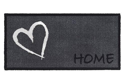 Fussmatte Grau Innen Waschbar | Fußmatte Home rutschfest Schmal | Design Abstreifer Modern | Matte Eingangsbereich | Fussabstreifer Teppich | Fußabstreifer Haustür | 40 x 80 cm | Herz