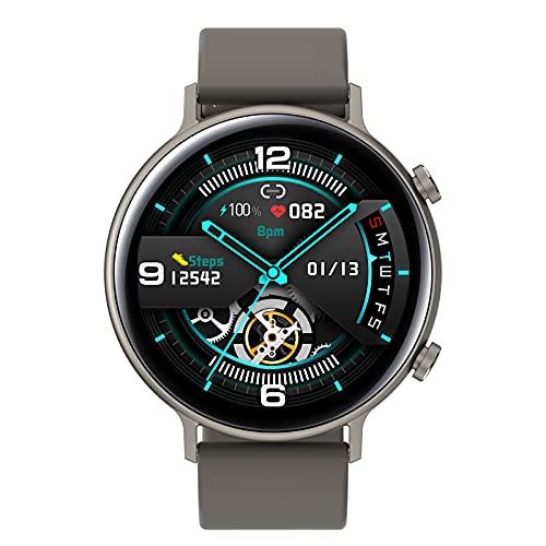 HQPCAHL Smartwatch, Reloj Inteligente Pantalla Táctil Completa Llamada Bluetooth Pulsómetro Presión Arterial Monitor de Sueño, Pulsera Actividad para Hombre Mujer Compatible con iOS y Android,Gris