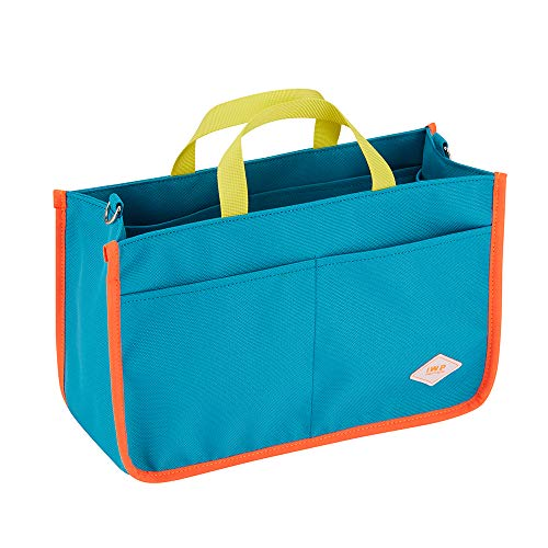 Eco Friendly Aqua Blue Organizer Tote Bag for Women, Recycled Polyester Canvas Fabric with 8 Compartments for Easy Organizing, Can be used as a Standalone Bag, IWP I WAS PLASTIC