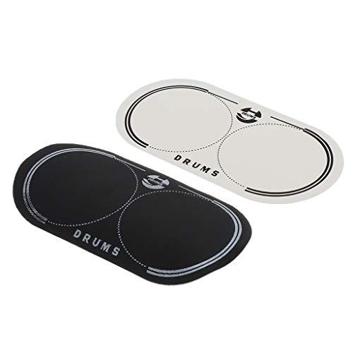 2 Piezas Tambor Parche de Impacto Protector Duradera Exquisita Diseño Ajustable Informática - Negro + blanco, 12.8x6.5cm