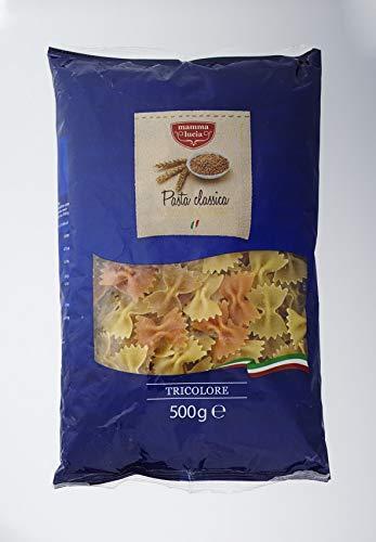 mamma lucia Pasta Farfalle tricolore dreifarbig mit Tomate und Spinat, 5er Pack (5 x 500 g)