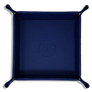 SIVEL + SHARP Leather Valet Tray - Embossed Catchall Tray with Brass Snaps (Royal)