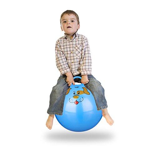 Relaxdays 10022554_45 Hüpfball Kinder, Hund, mit Griff, für Drinnen und Draußen, mit Tier-Motiv, weich, 45 cm Durchmesser, blau