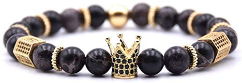 Plztou Pulsera de Piedra Mujer, 7 Chakra Natural Negro Negro Piedra Brazalete Brazalete Elástico Yoga Pulsera Pulsera Golden Crown Lucky Jewelry para mamá, Novia