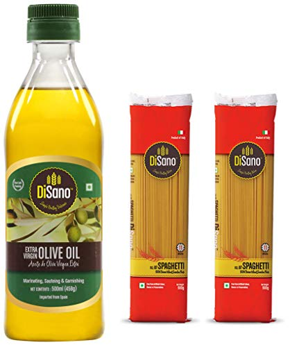 Disano Extra virgin Olive Oil - 500 ml and Disano Spaghetti Durum Wheat pasta, Pack of 2 (1 kg)