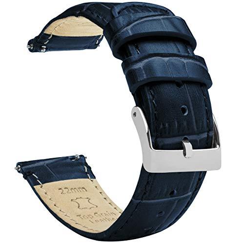 22 mm azul marino, longitud estándar, grano de cocodrilo, correas de reloj de cuero de liberación rápida