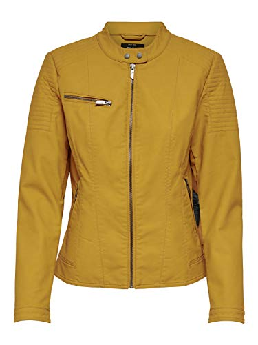 ONLY Damen Kunstleder-Jacke onlMegan Faux CC OTW, Farbe:Gelb, Größe:34
