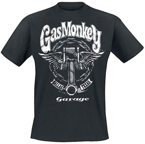 Gas Monkey Garage Big Piston Männer T-Shirt schwarz M 100% Baumwolle Fan-Merch, Rockabilly, TV-Serien