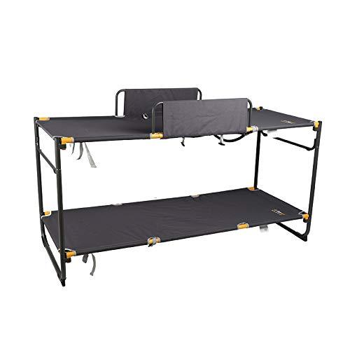 Oztrail Campingbett Deluxe Double BUNK Deluxe Bed Zwei Katzen, Campingliege, 17,6 kg, 180 x 72 x 85 cm, Kapazität 120 kg oder 100 kg im Bett-Modus. Mit Zwei Geländern