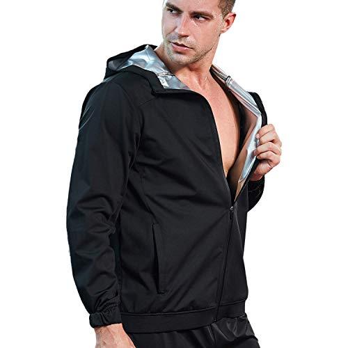 FLYGAGA Schweiss Anzug Sauna Anzug Sauna Suit Schwitzanzug Trainingsanzug Fitnessanzug Herren PVC Fitness Gewichtsverlust Schwitzen schnell