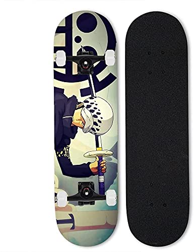 Ltyxyuan Monopatín profesional de cuatro ruedas, monopatín de arce de 7 capas para la ley de Trafalgar, Anime Doble Tilt Skateboard One Piece, monopatín completo de 31 pulgadas, patineta al aire libre