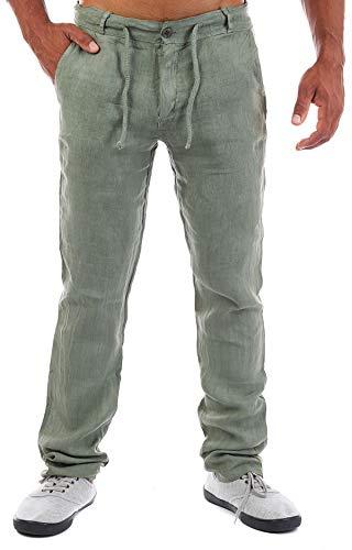 Young & Rich Herren Leinenhose Sommerhose 100% Leinen mit Kordelzug Leichter Tapered Legs T4080, Grösse:XXL, Farbe:Oliv