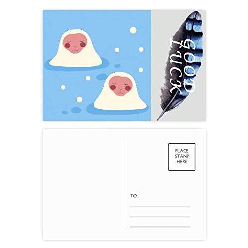 Juego de tarjetas postales japonesas de viaje, diseño de plumas de la suerte, 20 unidades