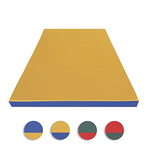 NiroSport Turnmatte 150 x 100 x 8 cm Gymnastikmatte Fitnessmatte Sportmatte Trainingsmatte Weichbodenmatte wasserdicht Gelb/Blau