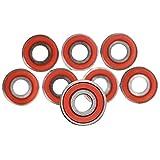スケートボードホイール、10個608 ABEC-11スケートスクーターノイズなしオイル潤滑スムーススケートスクーターベアリングロングボードスピードインラインスケートホイールベアリング(色:赤)、色:赤