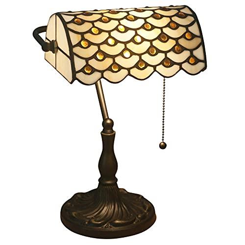 Mesa Lámpara de mesa Escritorio de cristal Manchado Luz Lámpara Sala Comedor Dormitorio Decoración de la cabecera Iluminación [Clase de eficiencia energética A++]