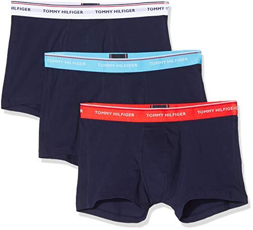 Tommy Hilfiger Herren 3p Wb Trunk Boxershorts, Weiß (Bluegrotto/Fiesta/Pvhwhite), Small (Herstellergröße:)