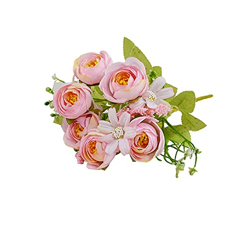 Yaochen Flores artificiais pequenas para decoração de pequenas flores chá rosa para decoração de casa decoração de casamento rosas falsas flores buquê mesa de escritório decoração de cozinha - rosas rosas rosas de seda