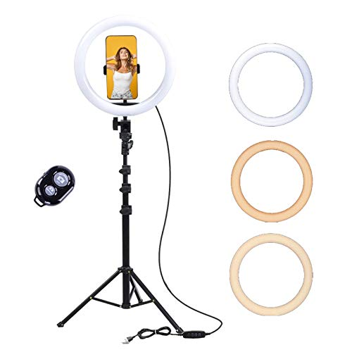 YDBET 10 Inch Dimmable Ring Light, LED Ring Light with Tripod Stand, 3 Color Modes And 10 Brightness, USB Powered, Phone Holder for Live Streaming, Makeup, Selfie, Tiktok, Zoom Meeting