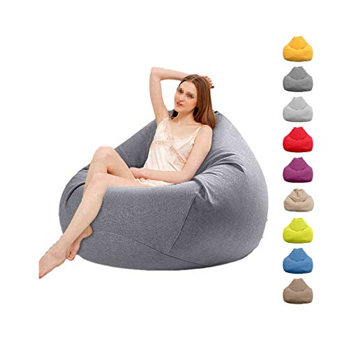 ZWIFEJIANQ 2020 New Household Lounger Bean Storage Bag Lazy Sofa Chairs Waterproof Puff Couch Cover for Living Room (Blue, L (100X120cm))