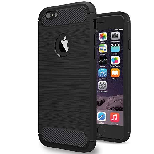 NEW'C Cover Compatibile con iPhone 6 Plus e iPhone 6s Plus, con Urti Assobirmento e Fibra di Carbonio [Gel Flex Silicone]