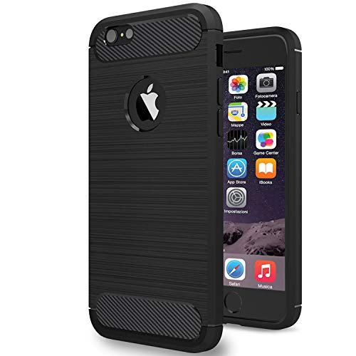 NEW'C Cover Compatibile con iPhone 6 e iPhone 6S, con Urti Assobirmento e Fibra di Carbonio [Gel Flex Silicone]