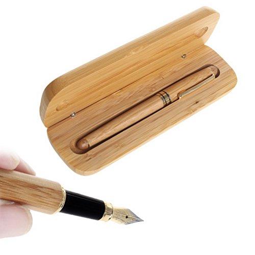 Set de pluma de bambú, Borte 1 Set Set de escritura de pluma estilográfica Fine Nib con caja de regalo de plumas de caligrafía de caja de madera para hombres