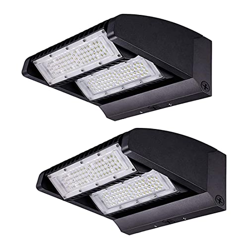 LEDMO 120W Rotatable LED Wall Pack - UL DLC Listed Adjustable Head 2 Pack 16200LM Outdoor Commercial and Industrial Lighting Security Flood Lighting for Buildings,Warehouses, Parking Lots,Yard 5000K