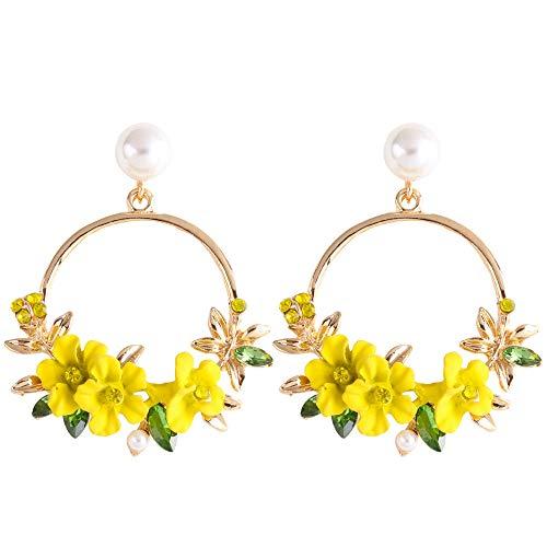 YAZILIND Resin Flowers Round Pendant Drop Dangle Stud Earrings for Women(yellow)