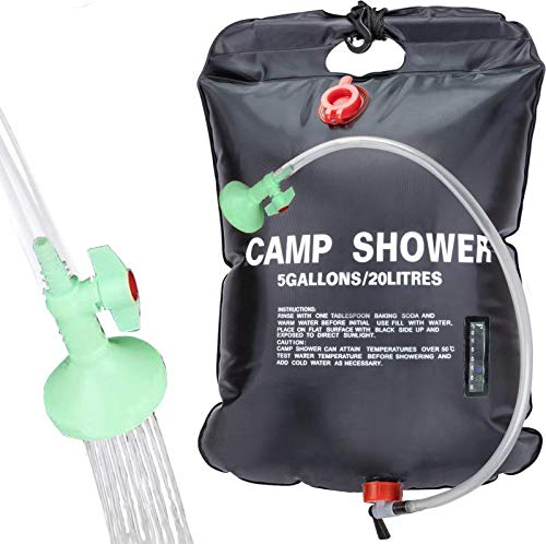Save %8 Now! WJLING Portable Camping Solar Shower Bag,5 gallons/20L Solar Shower Bag with Removable ...