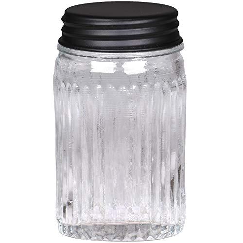 MACOSA CA61589-02 - Tarro de cristal redondo o rectangular con tapa de metal, color negro mate, recipiente de almacenamiento, recipiente de cristal para cocina, decoración con diseño (redondo)