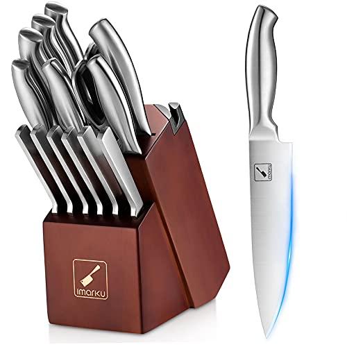 Kitchen Knives Set with Block, imarku 15-Pieces High Carbon German Steel Knife Set, Knife Block Set with Built-in Sharpener, Sliver