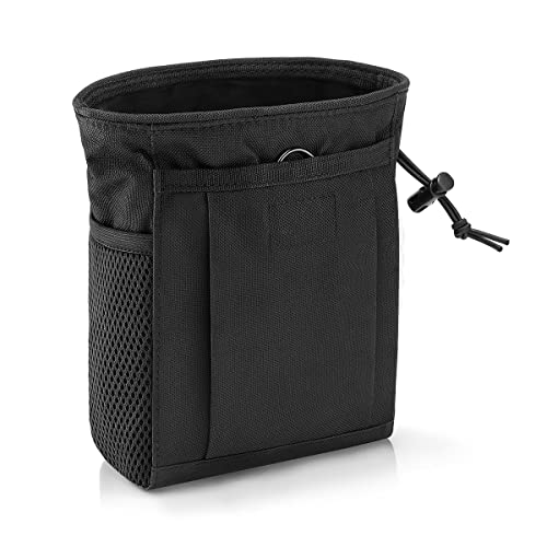 Tactical Molle Dump Pouch Bag, Adjustable Drawstring Magazine Military Utility Pouch Outdoor Ammo Pouch Waist Bag (Black)