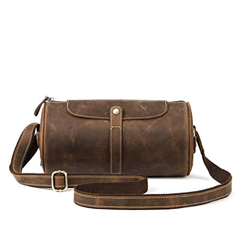 Shoulder Crossbody Bags for Men, Men's Cowhide Leather Bag Classic Retro Crossbody Bags Casual Shoulder Bag Travel Bag Small Stylish Cylinder Bag Satchel Work Casual Satchel Shoulder Crossbody Briefca