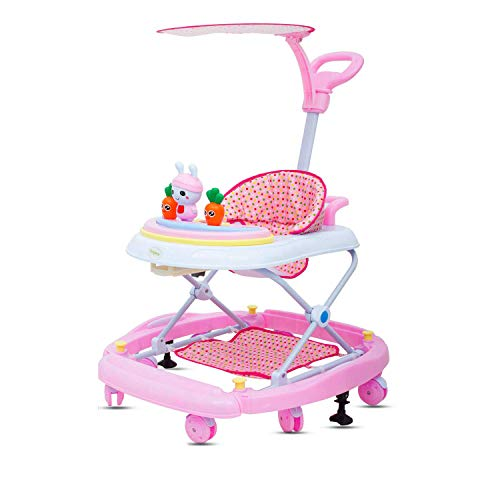 GoodLuck Baybee Round Baby Walker for Kids   Music Function with Canopy 3 Position Height Adjustable kis Walker,Activity Walker for Babies/Childs (6 Months to 2 Years) (Pink)