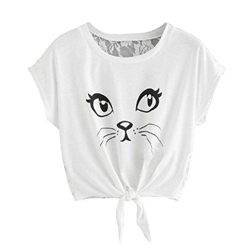 Kword Felpe Tumblr Ragazza Top in Pizzo con Stampa Gatto Maglietta Eleganti da Estate Camicia Camicetta Cime T-Shirt Pullover Top Canotta Gilet (Bianco, L)