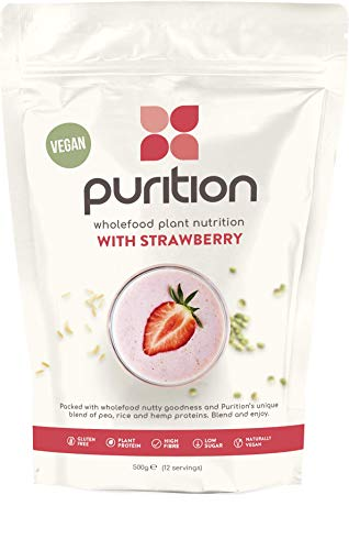 Purition Vegan Strawberry Natural Protein Powder for Keto Diet Shakes and Meal Replacements Shakes, 1 Bag (12 Serving)