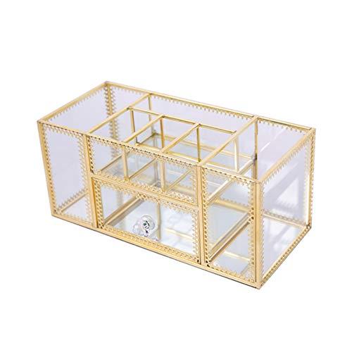 Duomu Caja de cepillo cosmético de gran capacidad de 23 x 10 x 10 cm, caja de almacenamiento de cepillo cosmético transparente portátil con accesorios de cajón para dormitorio y baño