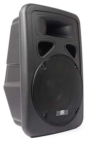 Skytec 600 Watt Aktiv Monitor DJ PA Box mit robusten Speaker Lautsprecher ABS-Gehäuse und 30cm Subwoofer ideal für Outdoor + Kabel (2-Wege-System, 2-Band-EQ, T, 2x Mikro) schwarz